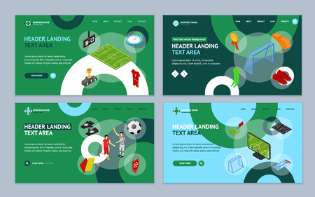 Football or Soccer Game Landing Web Page Template Set Isometric View. Vector Standard-Bild - 117841887