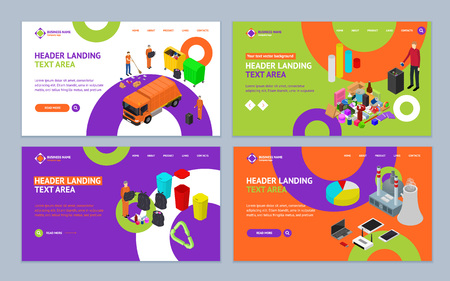 Garbage Recycling Concept Landing Web Page Template Set 3d Isometric View Waste Sorting Types Recycled Bins. Vector illustration