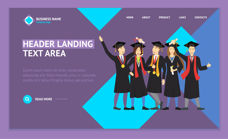 Cartoon Graduation of Happy Students Landing Web Page Template Education Concept Element Flat Design Style. Vector illustration of Icon Student People Imagens - 124987385