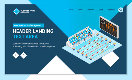 Swimming Competition Concept Landing Web Page Template 3d Isometric View. Vector Standard-Bild - 117841888
