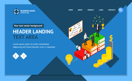 Winner Business Success Concept Landing Web Page Template 3d Isometric View Include of Achievement Leadership, Win, Growth and Award. Vector illustration