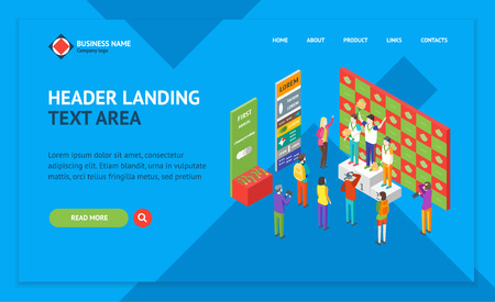 Winner Concept Landing Web Page Template Isometric View Champion on Pedestal Competition Game Sport Concept. Vector illustration