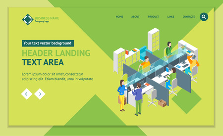Work Space Office Interior Landing Web Page Template Isometric View. Vector Standard-Bild - 117841889