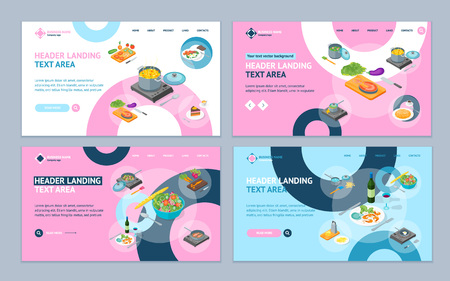 Cooking or Preparation Food Landing Web Page Template Set Isometric View Include of Knife, Utensil and Vegetable. Vector illustration for Kitchen, Restaurant