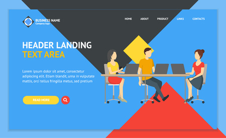 Cartoon Coworking Place Landing Web Page Template Creative Work Room and People Concept Flat Design Style. Vector illustration of Workplace Interior Ilustração