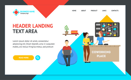 Cartoon Coworking Place Landing Web Page Template Creative Work Room and People Concept Flat Design Style. Vector illustration of Workplace Interior Project for Development Website