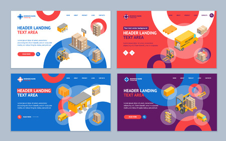 Logistic Delivery Cargo Service Landing Web Page Template Set Isometric View Include of Warehouse, Shelves, Box and Loader. Vector illustration
