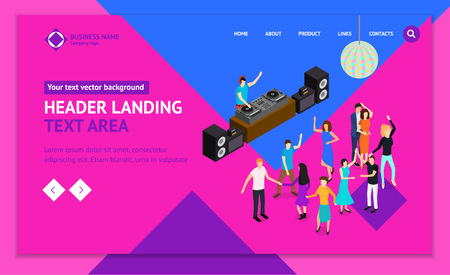DJ Club Bar Concept 3d Landing Web Page Template Isometric View Elements of Music Party and Disco Vinyl Dance. Vector illustration of Entertainment