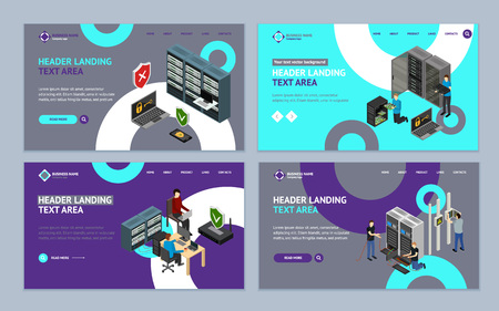Server Hardware Landing Web Page Template Set Isometric View. Vector illustration of Icon Technology Network Computer