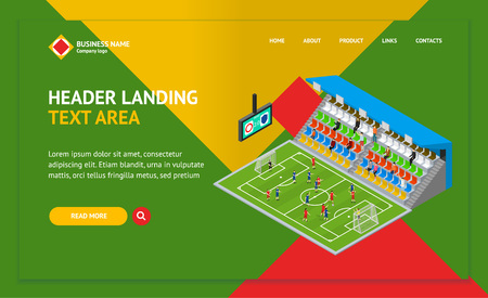 Soccer Stadium Competition Landing Web Page Template Isometric View Sport Game Concept Symbol of Football Element Map for Website Design. Vector illustration