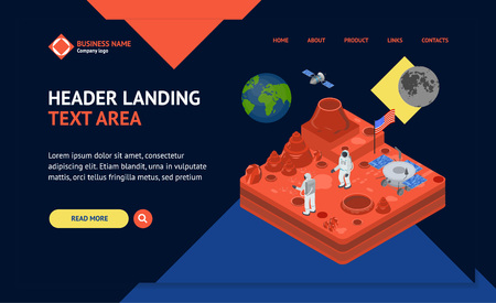 Space Discovery Concept Landing Web Page Template 3d Isometric View Astronaut with a Flag on Surface Moon. Vector illustration of Cosmic Mission or Expedition