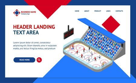 Ice Hockey Arena Competition Concept Landing Web Page Template 3d Isometric View. Vector Standard-Bild - 117841892