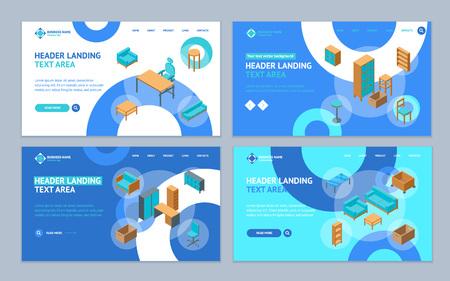 Office Furniture 3d Landing Web Page Template Set Isometric View Include of Table, Chair, Sofa, Armchair and Shelf. Vector illustration