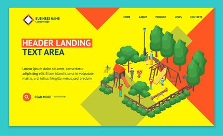 Green City Park Concept Landing Web Page Template 3d Isometric View. Vector Standard-Bild - 117841893