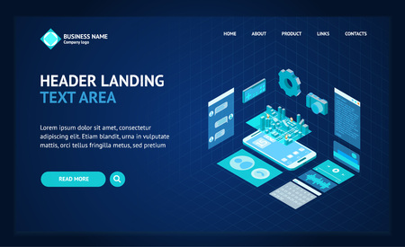 Mobile Phone Concept Landing Web Page Template 3d Isometric View. Vector Standard-Bild - 117841894