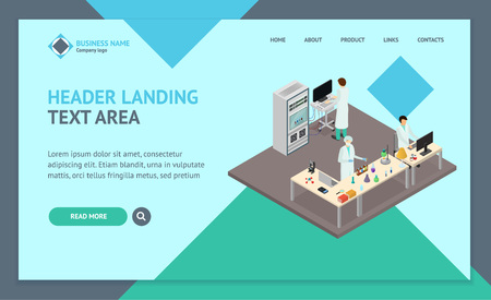 Science Lab Interior Landing Web Page Template Isometric View. Vector Ilustrace