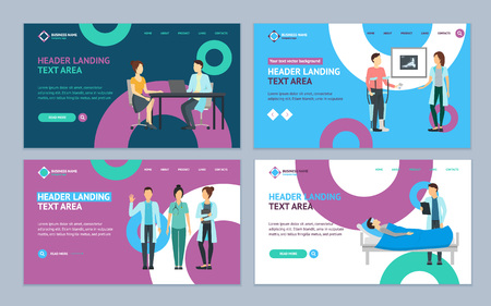 Cartoon Doctors and Patients Landing Web Page Template Set Medicine Concept Element Flat Design Style. Vector illustration of Doctor and Patient Character Icon  イラスト・ベクター素材