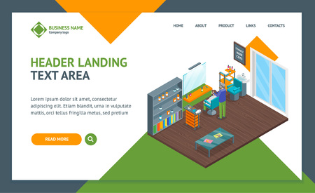 Haircut Room Interior Landing Web Page Template Isometric View. Vector Standard-Bild - 117841897