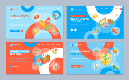 Online Shopping Landing Web Page Template Set Isometric View Include of Delivery Car, Laptop, Phone and Gift Box. Vector illustration