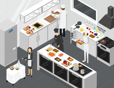 Restaurant Cooking Room Interior with Furniture Isometric View Include of Dish, Chef, Oven and Plate. Vector illustration