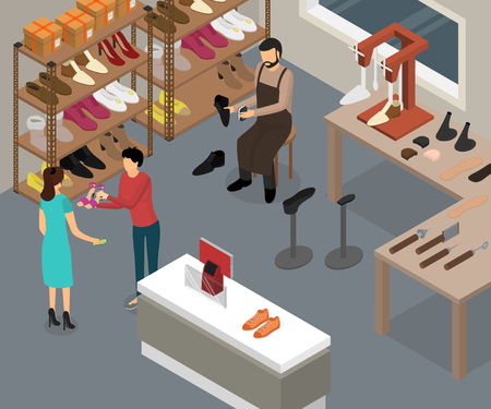 Shoe Work Shop Interior with Furniture Isometric View Include of Man, Equipment, Footwear and Customer. Vector illustration Standard-Bild - 118014402