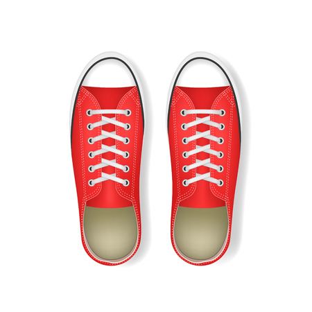 Realistic 3d Detailed Trendy Red Sneakers Pair with White Shoelace Top View. Vector illustration of Fashion Footwear 向量圖像