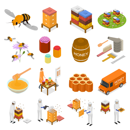 Apiary Sign 3d Icon Set Isometric View Include of Honeycomb, Bee, Beekeeper and Honey. Vector illustration of Icons