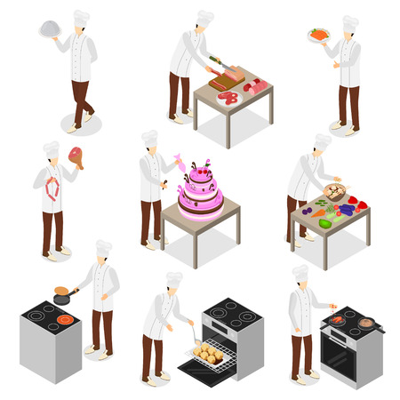 Character Chef Cooks 3d Icon Set Isometric View Include of Plate and Dish. Vector illustration of Icons Çizim