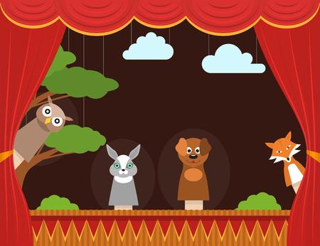 Teatro de marionetas para niños de dibujos animados con espectáculo de tarjeta de fondo de cortina, entretenimiento o concepto de rendimiento Diseño plano Ilustración vectorial Ilustración de vector
