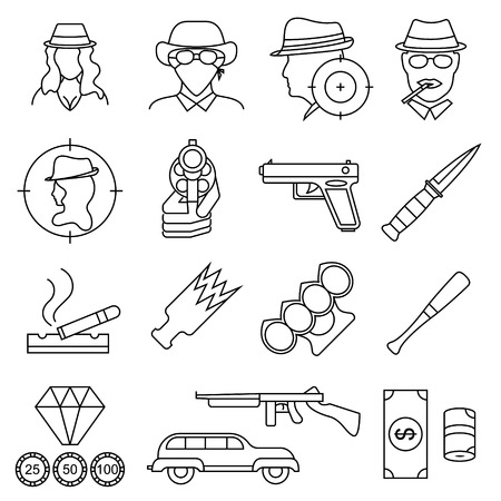 Mafia and Gangster Signs Black Thin Line Icon Set. Vector Standard-Bild - 118410745