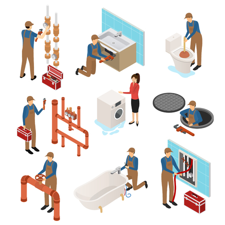 Character Plumber in Uniform 3d Icon Set Isometric View Repair Professional Service Concept. Vector illustration of Icons