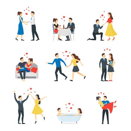 Cartoon Characters People Couples in Love Set. Vector Standard-Bild - 118410759