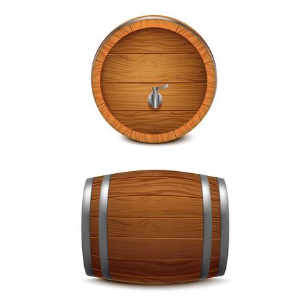 Realistic 3d Detailed Wooden Barrel Set. Vector Standard-Bild - 118410760
