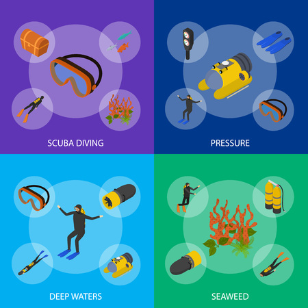Scuba Diving Signs 3d Banner Set Isometric View Include of Snorkel and Mask. Vector illustration of Underwater Sport Banners