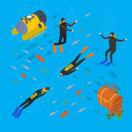 Scuba Diving Underwater Scenic Isometric View Include of Snorkel and Mask. Vector illustration of Sport Icon