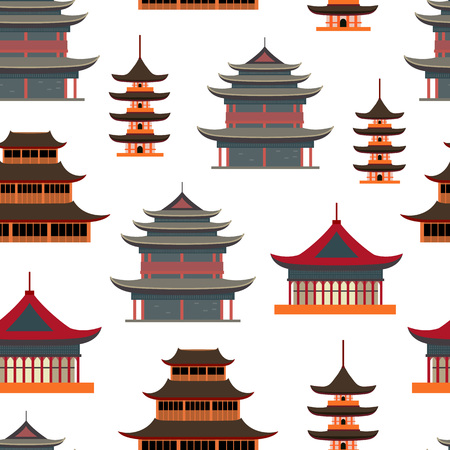 Cartoon Traditional Asian House Seamless Pattern Background on a White Pagoda Concept Element Flat Design Style. Vector illustration of Oriental Home or Temple Standard-Bild - 118089070