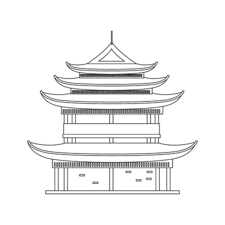 Traditional Asian House Thin Line Object. Vector Standard-Bild - 118410763