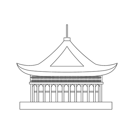 Traditional Asian House Object Pagoda Concept Element Thin Line Design Style. Vector illustration of Oriental Pavilion or Temple Standard-Bild - 118089080