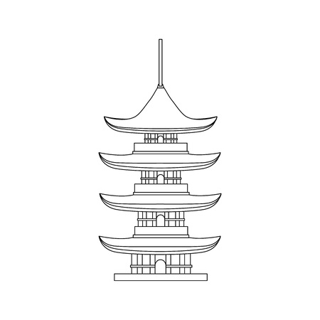 Traditional Asian House Thin Line Object. Vector Standard-Bild - 118410765