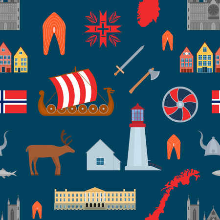 Cartoon Norwegian Travel and Tourism Seamless Pattern Background Norway Concept Element Flat Design Style. Vector illustration of Landmarks Scandinavia
