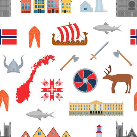 Cartoon Norwegian Travel and Tourism Seamless Pattern Background on a White Norway Concept Element Flat Design Style. Vector illustration of Landmarks Scandinavia Illustration