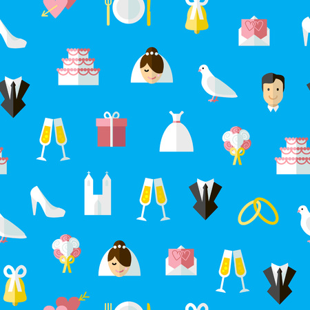 Cartoon Wedding Symbols Seamless Pattern Background on a Blue Concept Ceremony Marriage Element Flat Design Style. Vector illustration of Celebration Icon