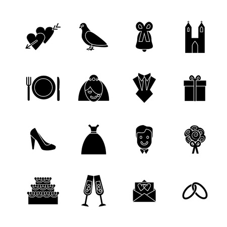 Cartoon Silhouette Black Wedding Symbols Icons Set Concept Ceremony Marriage Element Flat Design Style. Vector illustration of Celebration Icon Banque d'images - 124744714