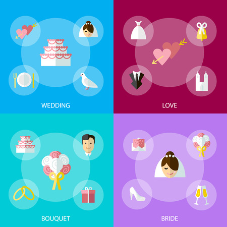 Cartoon Wedding Symbols Icons Set Concept Ceremony Marriage Element Flat Design Style. Vector illustration of Celebration Bannres Banque d'images - 124744715