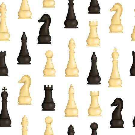 Realistic Detailed 3d Wooden Chess Pieces Seamless Pattern Background. Vector Standard-Bild - 118410774