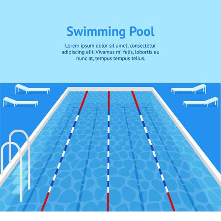 Cartoon zwembad interieur kaart Poster Ad vrijetijdsbesteding gezonde zorg Concept voor Fitness oefening Element plat ontwerpstijl. vector illustratie Vector Illustratie