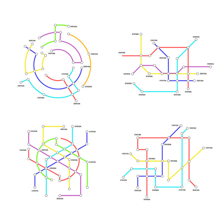 Metro Map Signs Color Thin Line Icon Set. Vector Standard-Bild - 118410776