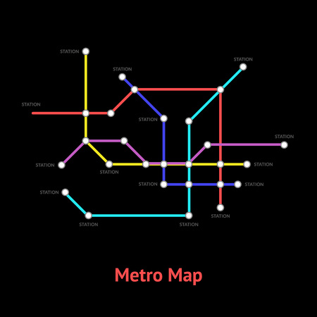 Metro Map Sign Color Thin Line Card. Vector