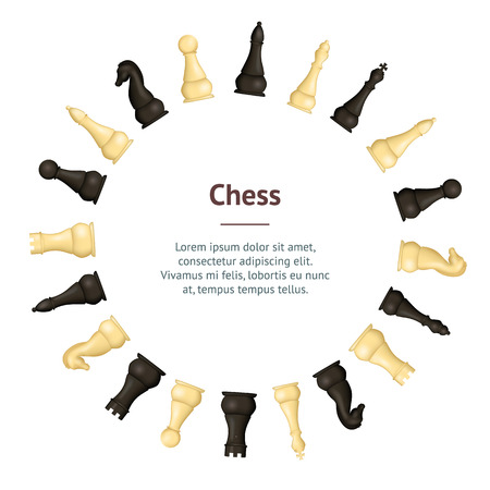 Realistic Detailed 3d Wooden Chess Pieces Banner Card Circle. Vector Standard-Bild - 118410779