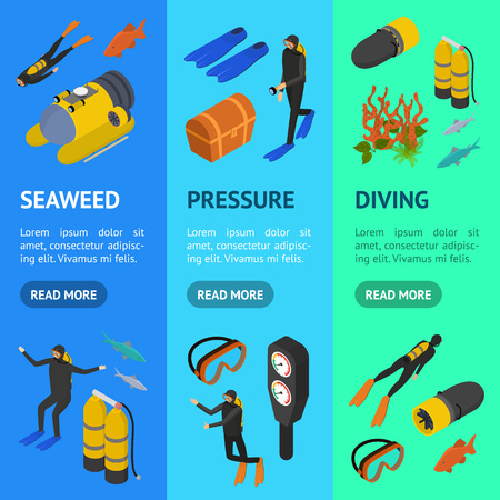 Scuba Diving Signs 3d Banner Vecrtical Set Isometric View. Vector